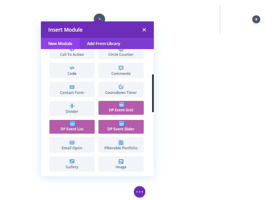 Divi Event Manager Modules
