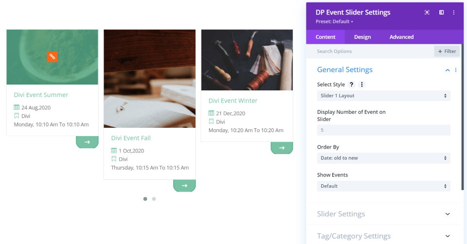 Divi Event Slider