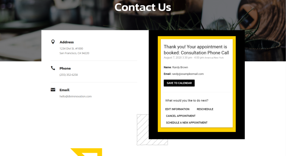 Simply Schedule Appointments Divi Example