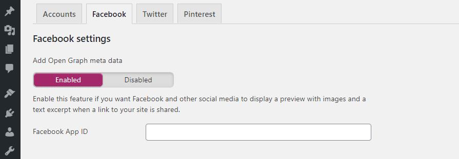 Adding your Facebook app ID to WordPress using Yoast.