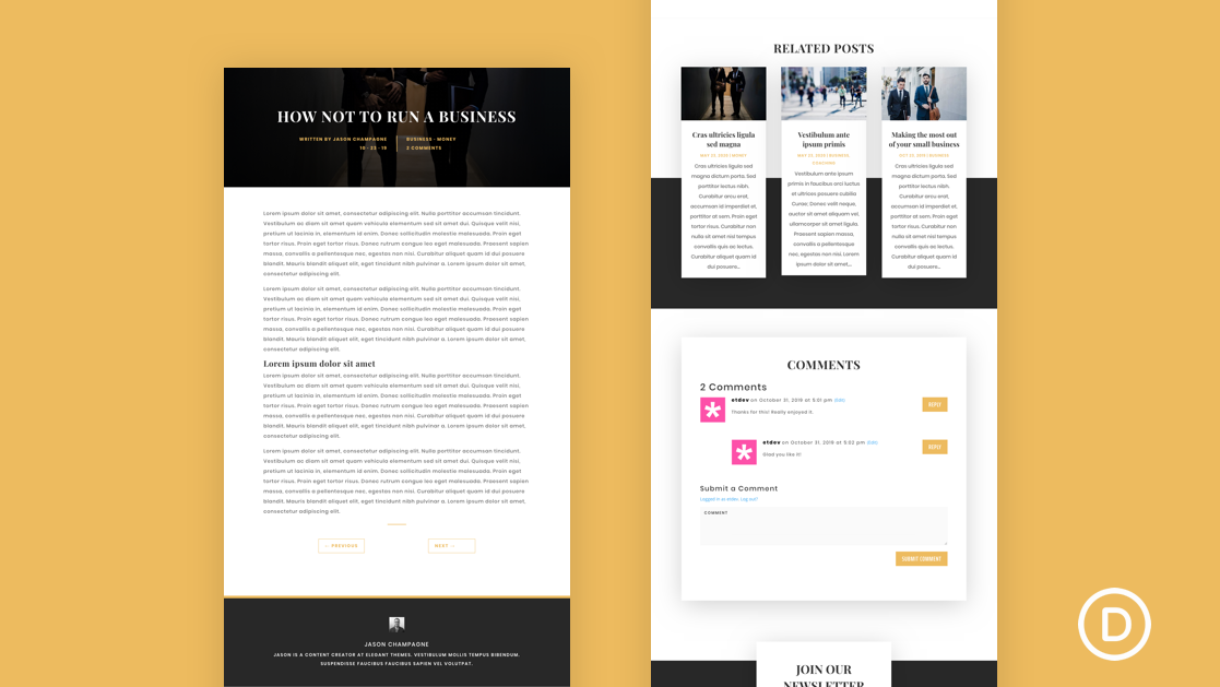 Get a FREE Blog Post Template for Divi's Business Consultant Layout Pack