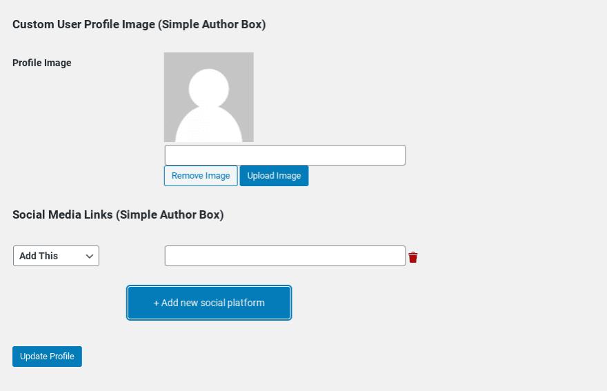 The 'Customer User Profile' settings in WordPress.