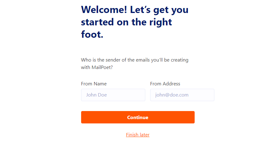 Configuring the default sender email for MailPoet campaigns.