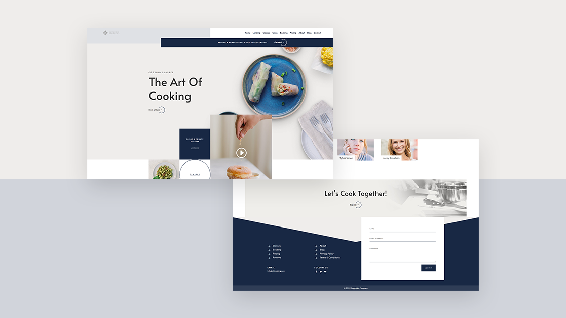Get a FREE Header & Footer Template for Divi's Cooking School Layout Pack