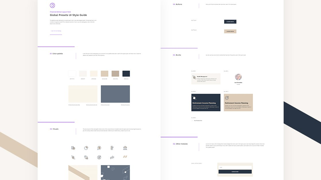 Download a FREE Global Presets Style Guide for Divi's Financial Advisor Layout Pack
