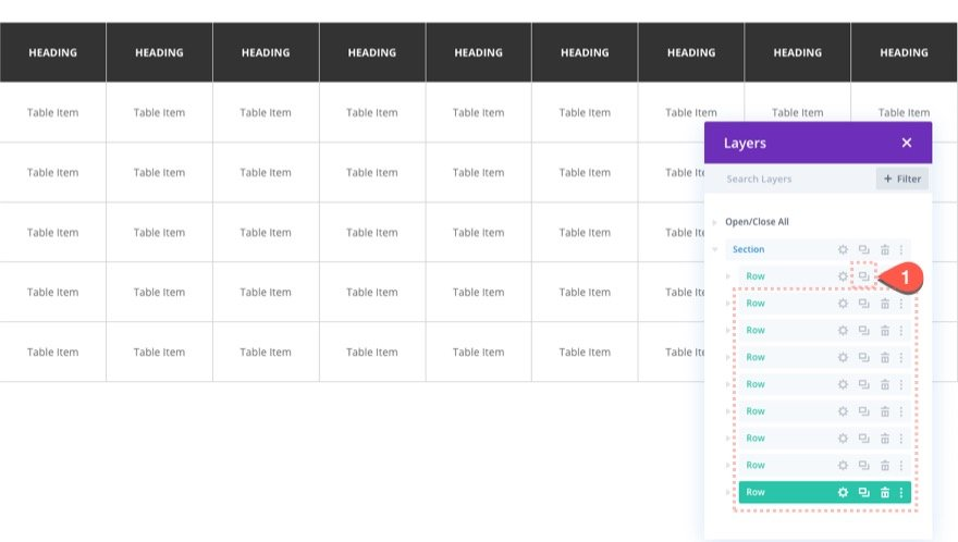 divi table with horizontal scroll