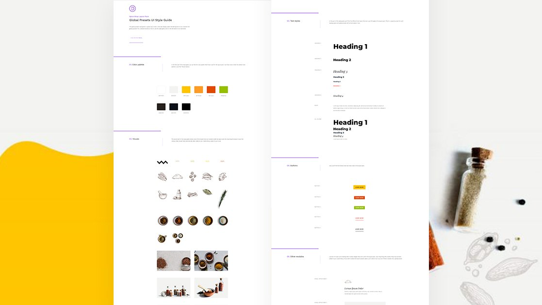 Download a FREE Global Presets Style Guide for Divi's Spice Shop Layout Pack