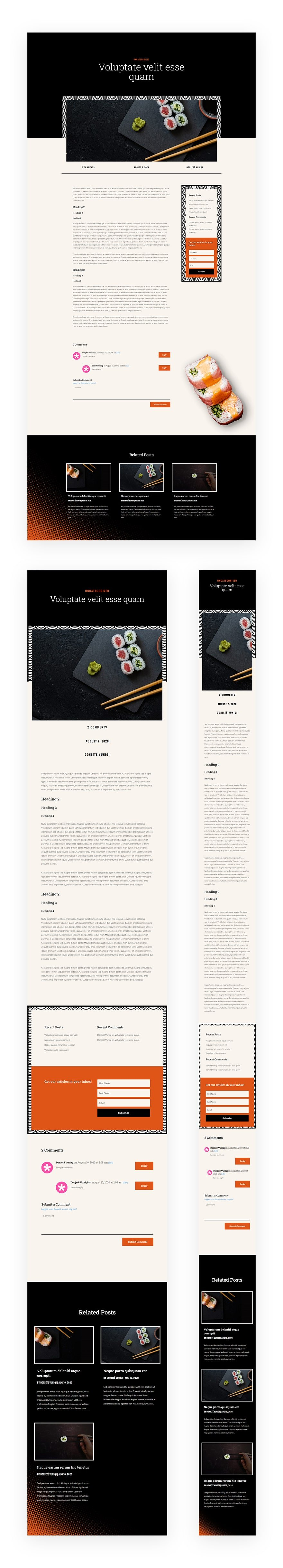 sushi restaurant blog post template