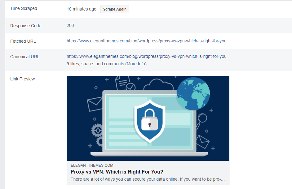 The Facebook Debugger in action.