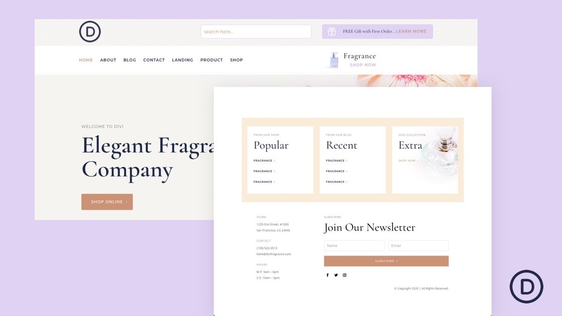 Download a FREE Header & Footer Template for Divi's Perfumery Layout Pack