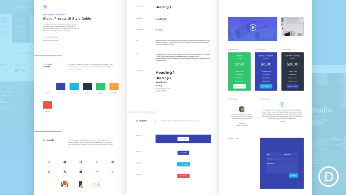 Get a FREE Global Presets Style Guide for Divi's Web Agency Layout Pack