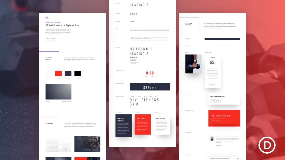 Download a FREE Global Presets Style Guide for Divi's Fitness Gym Layout Pack