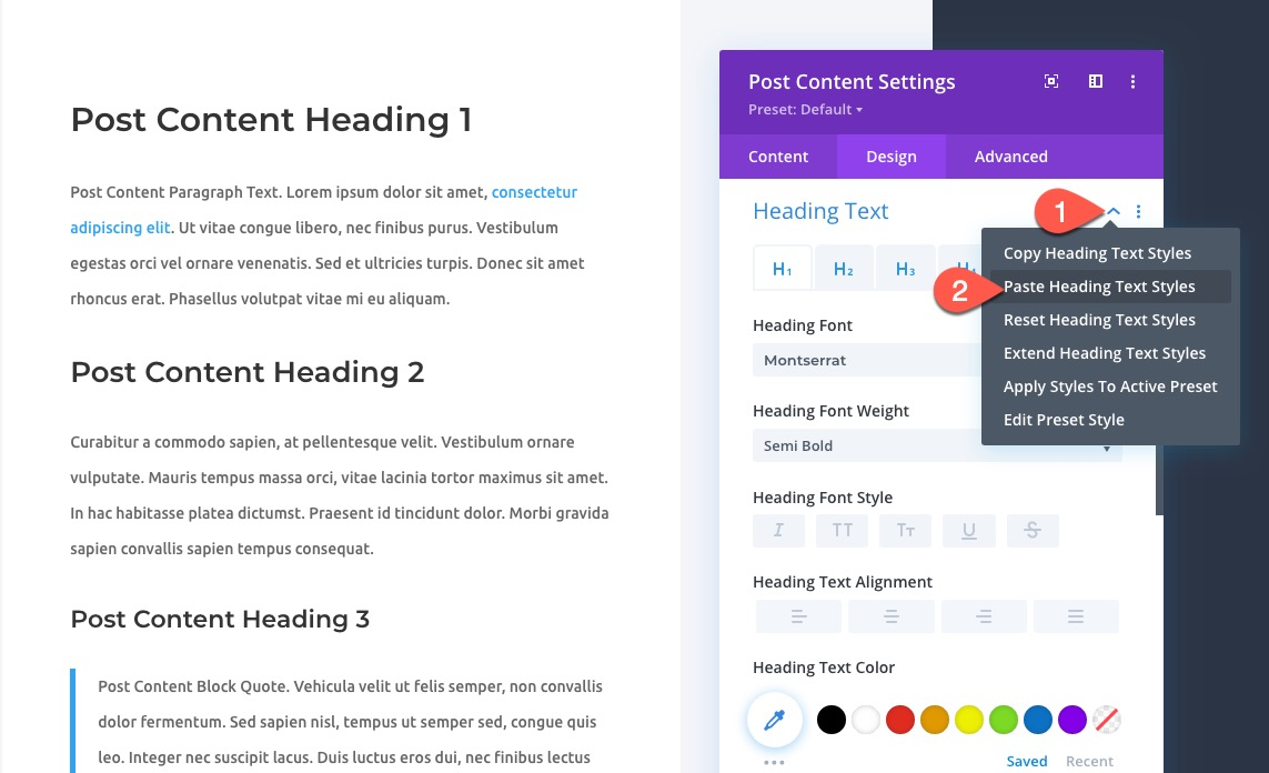 global presets with divi layout block