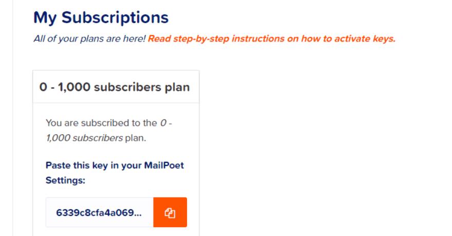 A MailPoet account key.