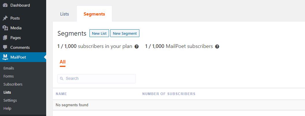 Creating a new MailPoet segment.