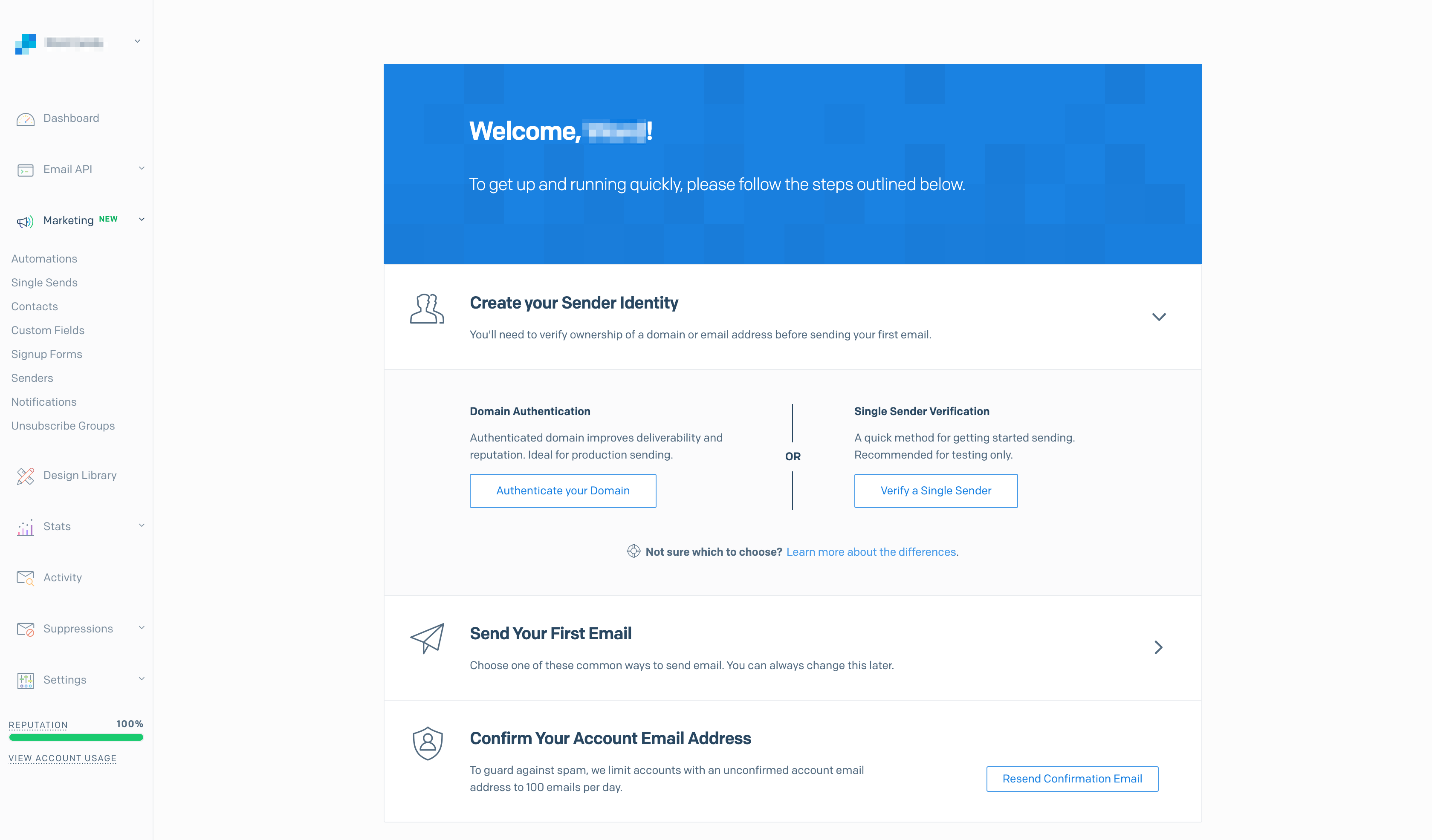 SendGrid's initial interface.