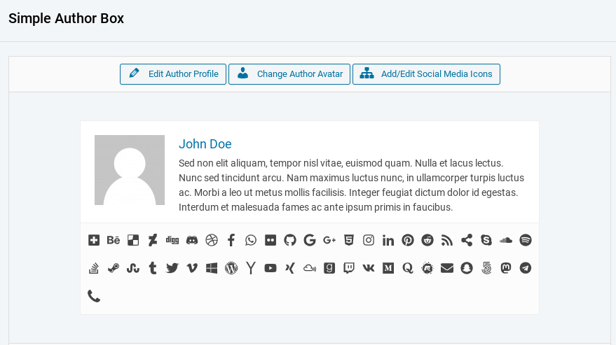 The author box preview window in the Simple Author Box plugin settings.