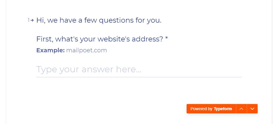 Entering your website's URL.