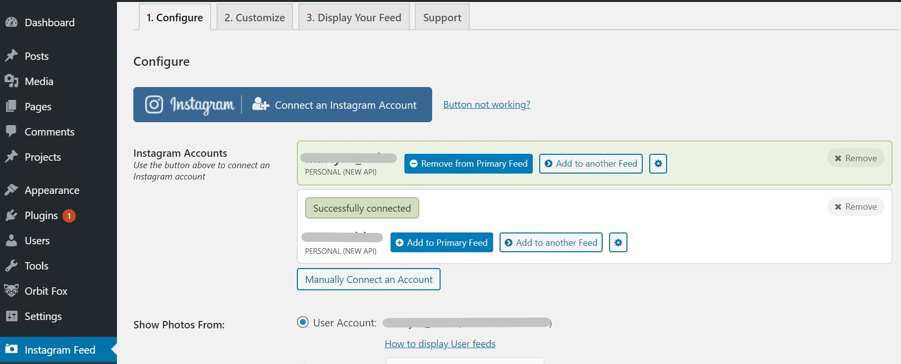 Adding accounts in Smash Balloon.