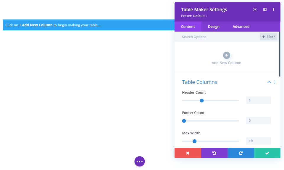 Table Maker Content Tab