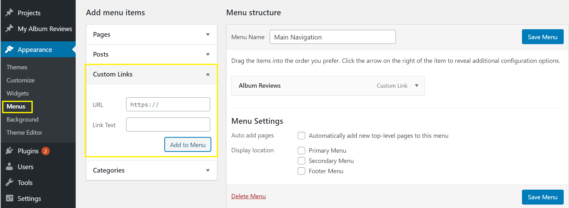Adding a custom post type to the main navigation menu.