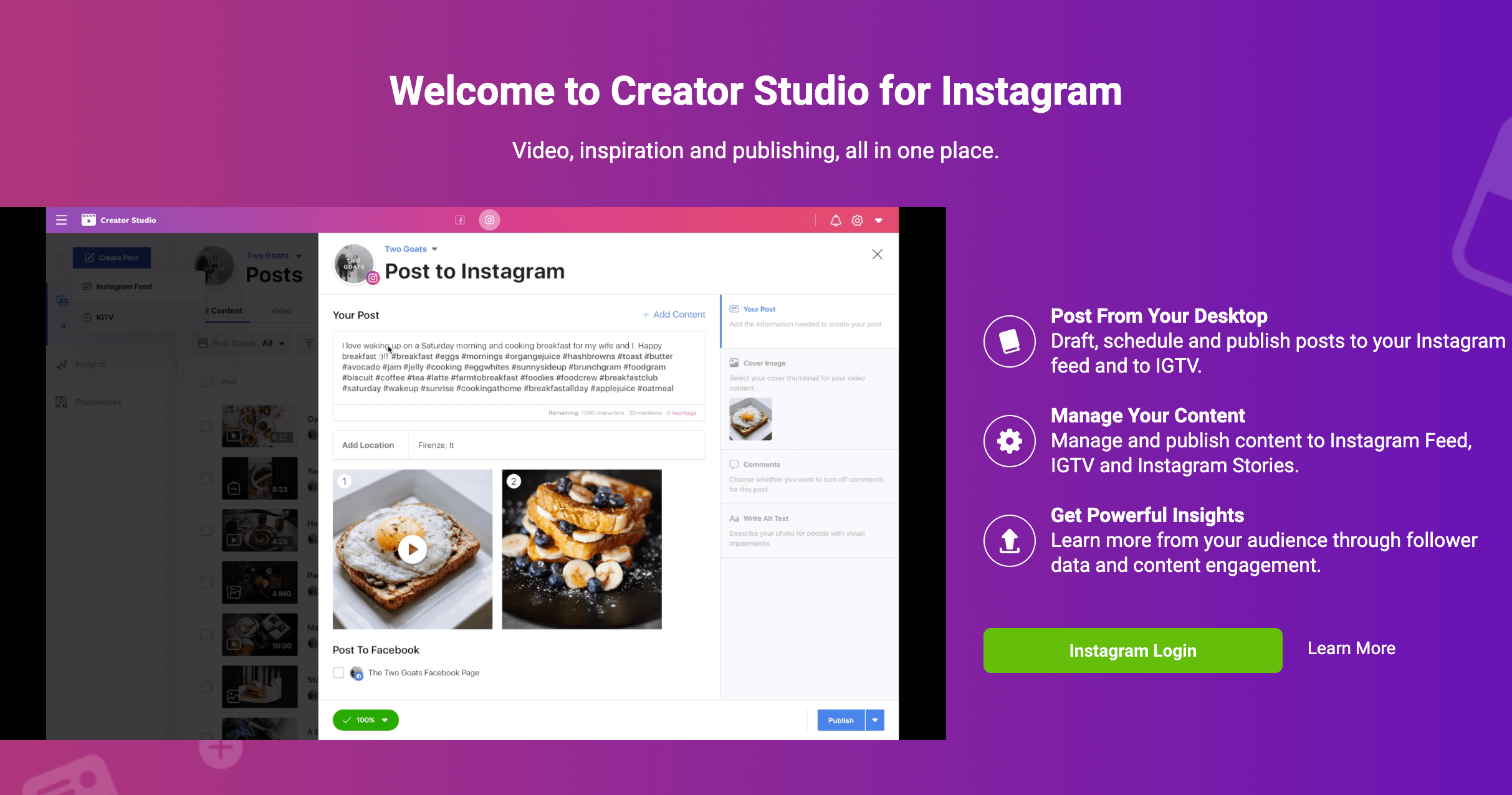 Creator Studio for Instagram.