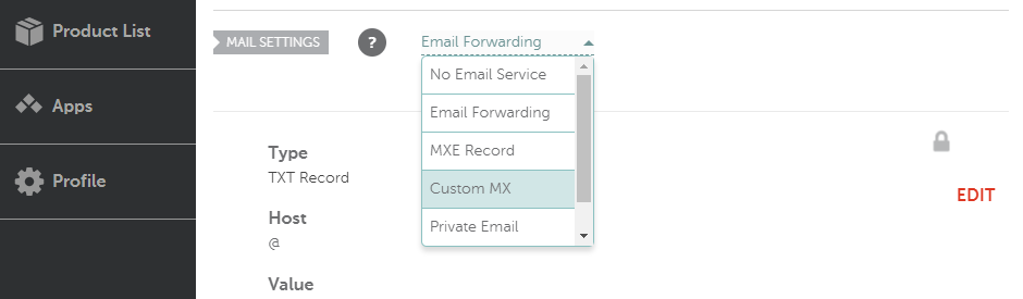 Configuring a custom MX record.