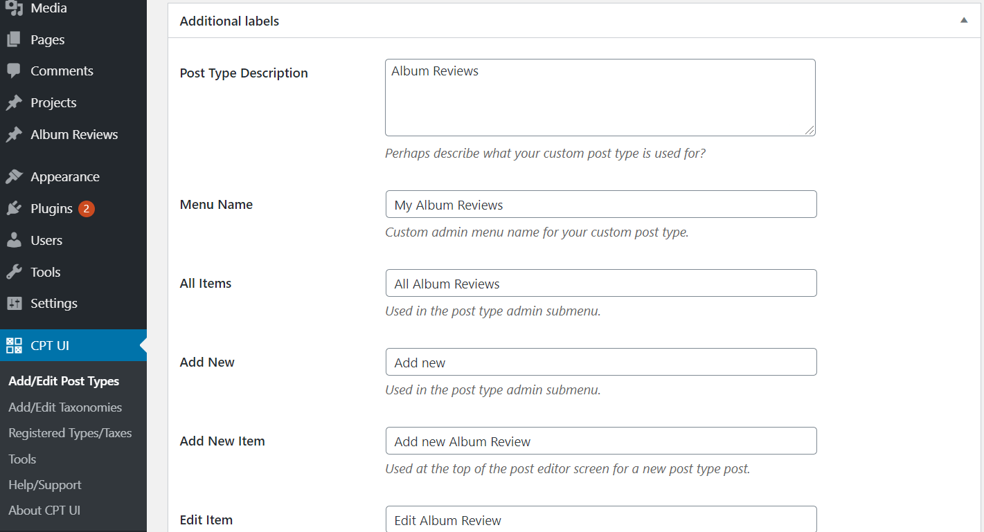 Specifying the additional labels in Custom Post Type UI.