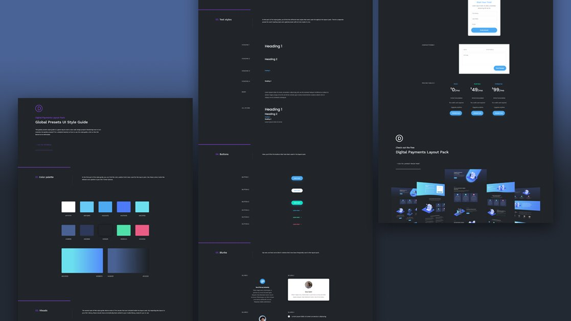 Download a FREE Global Presets Style Guide for Divi's Digital Payments Layout Pack