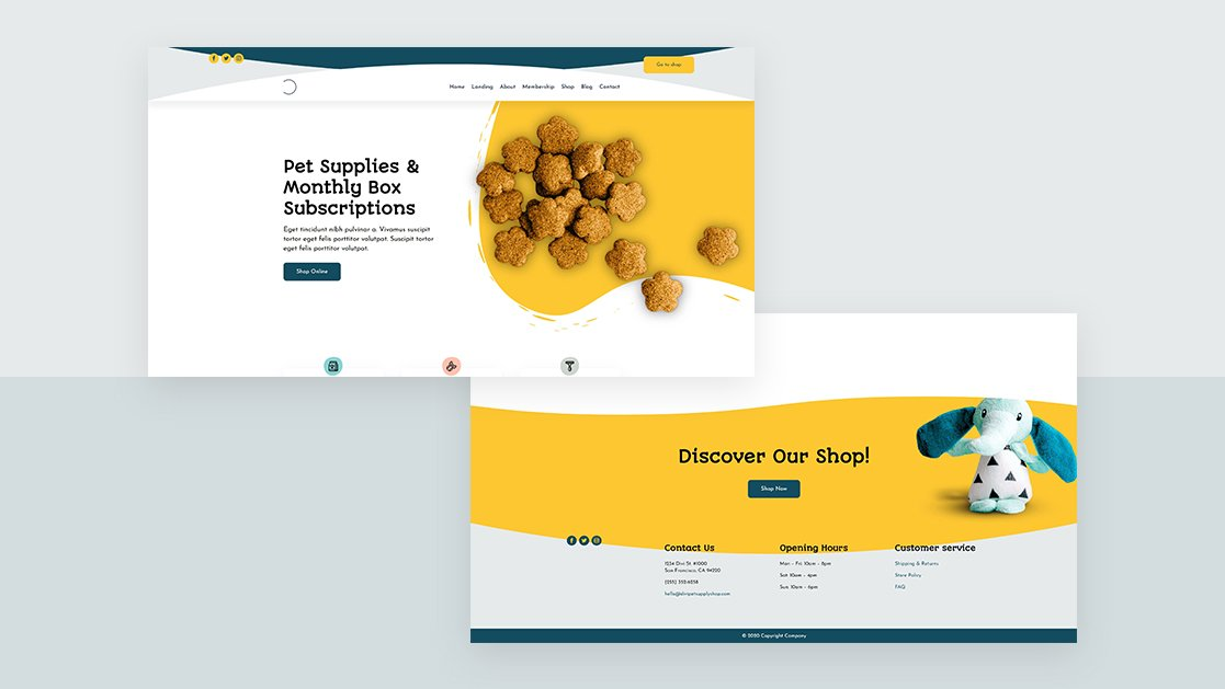 Download a FREE Header & Footer for Divi's Pet Supply Layout Pack