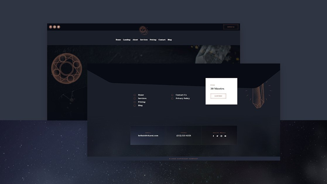 Download a FREE Header & Footer for Divi's Tarot Layout Pack