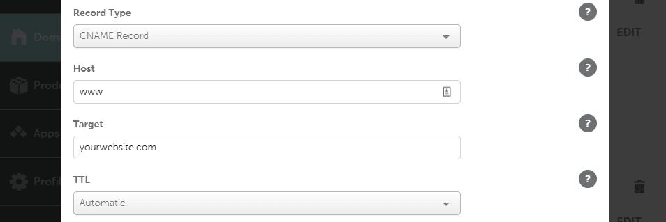Configurando un nuevo registro CNAME.