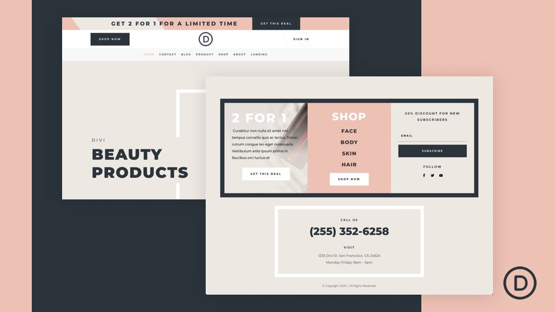 Download a FREE Header and Footer for Divi's Beauty Product Layout Pack