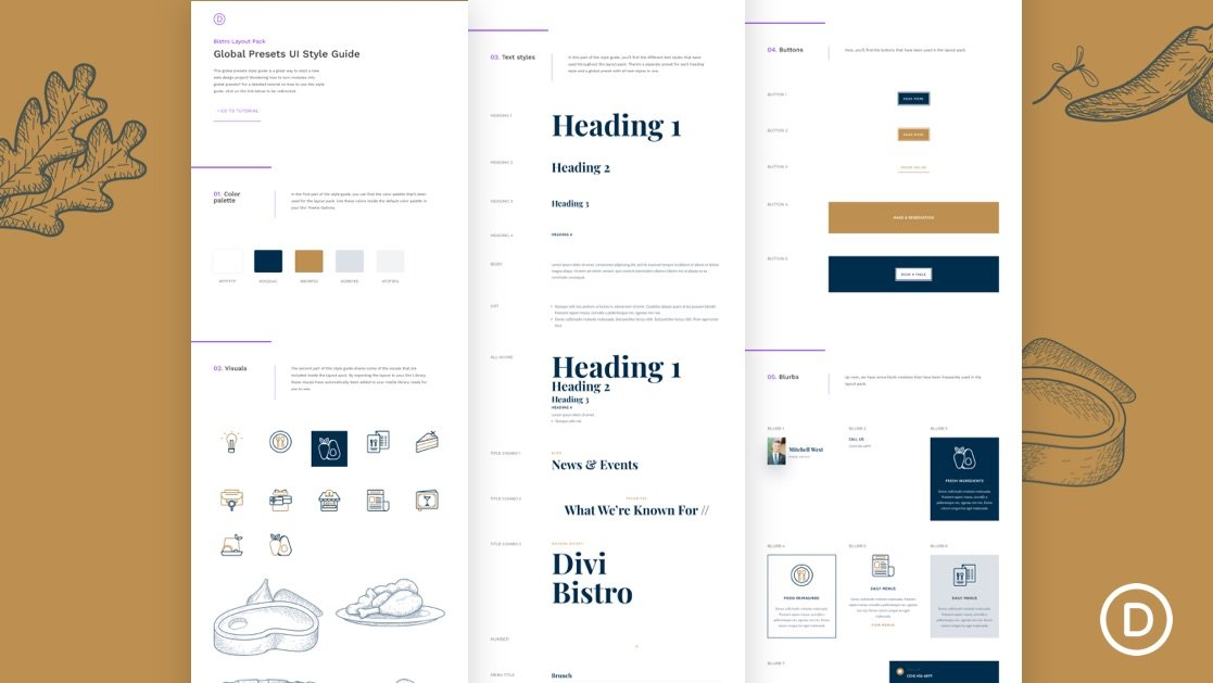 Download a FREE Global Presets Style Guide for Divi's Bistro Layout Pack