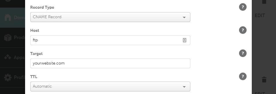 Configuración de un registro CNAME de FTP.