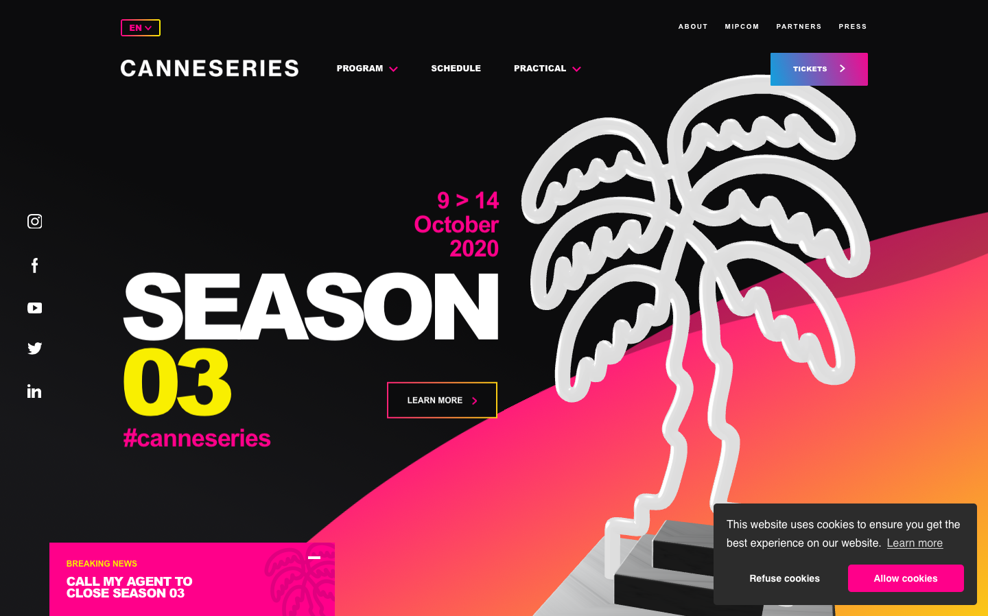 Content Marketing - how the Canne Series' website uses typography and visuals
