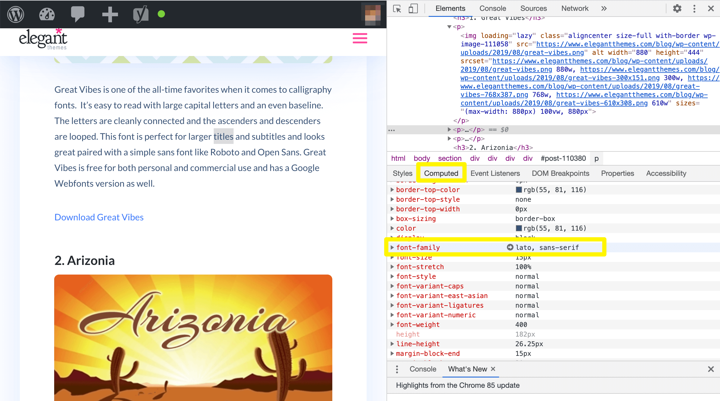 Viewing the font family in the Chrome Inspector tool.