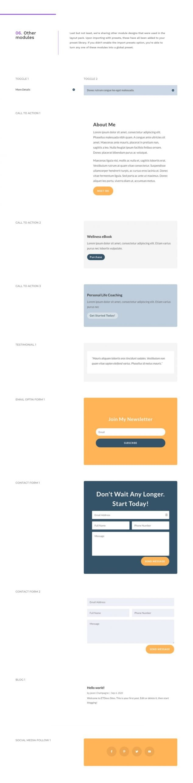 divi life coach global presets style guide