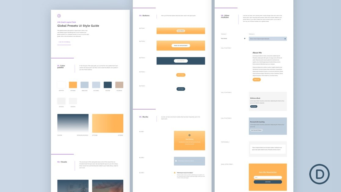 Download a FREE Global Presets Style Guide for Divi's Life Coach Layout Pack