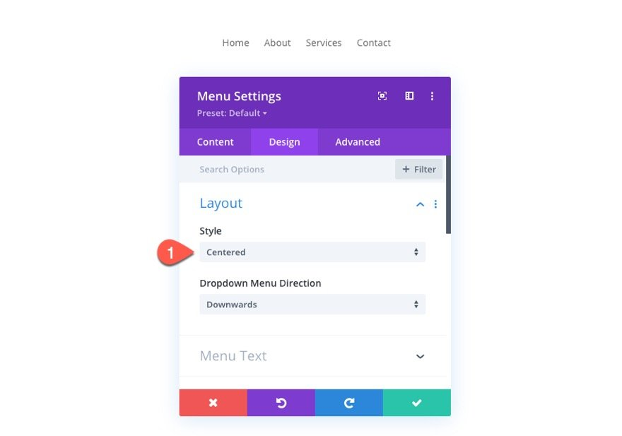 divi menu module global presets