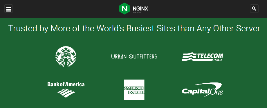 The NGINX homepage.