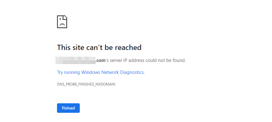 The DNS_PROBE_FINISHED_NXDOMAIN error in Chrome.