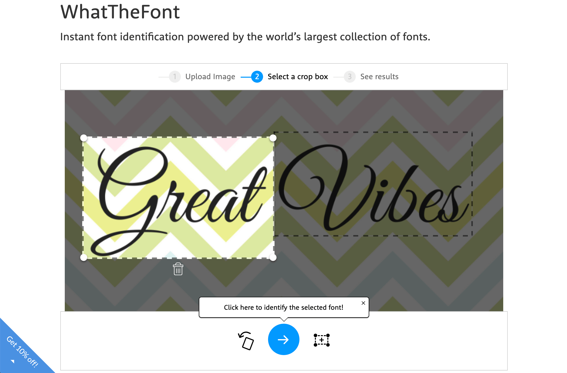 Selecting text from an image in WhatTheFont.