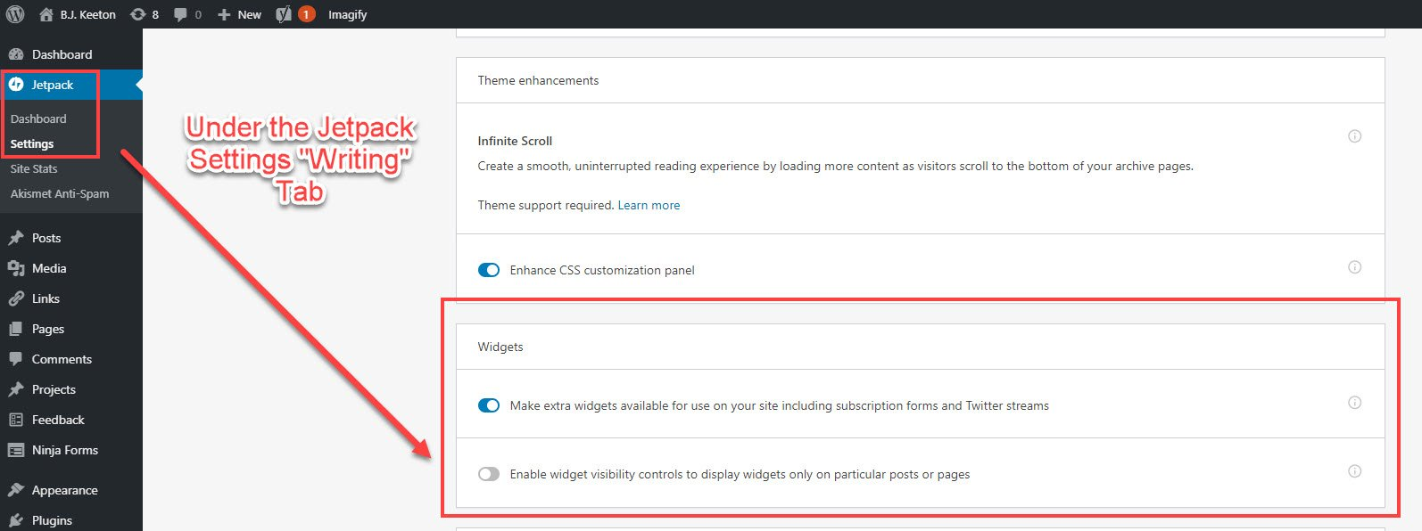 WordPress widget visibility options through Jetpack Writing Tab