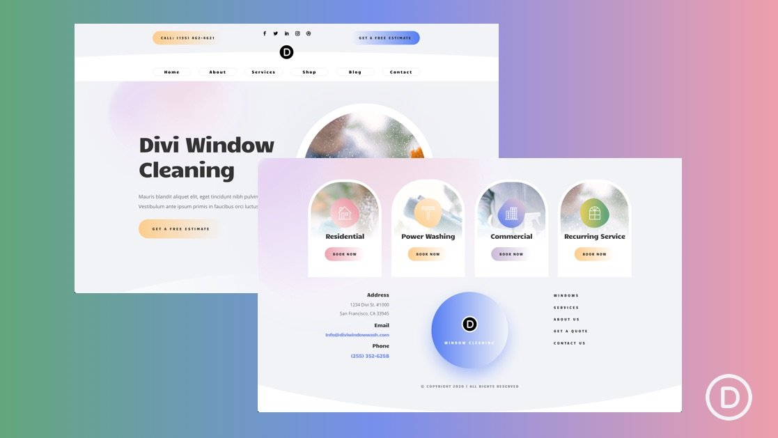 Get a FREE Header and Footer for Divi's Window Cleaning Layout Pack
