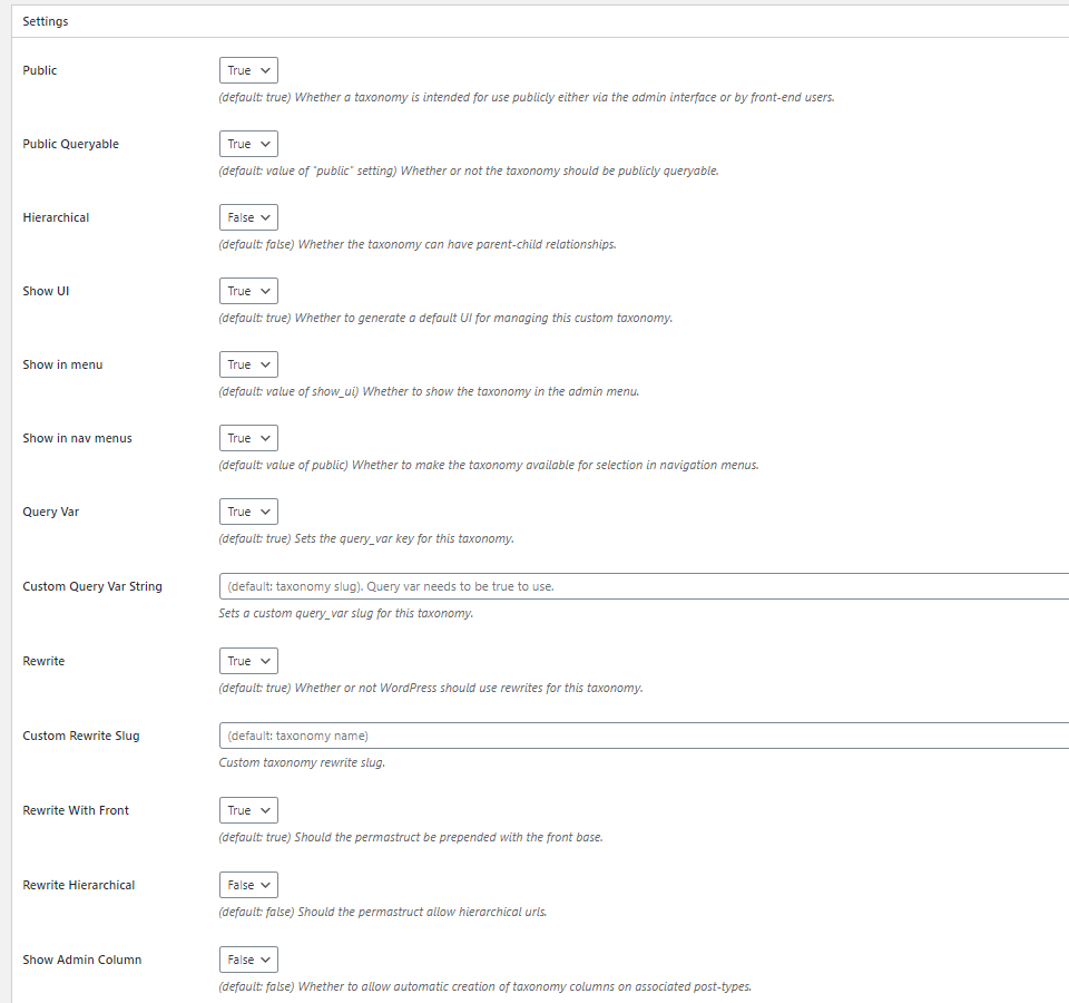 wordpress taxonomy settings