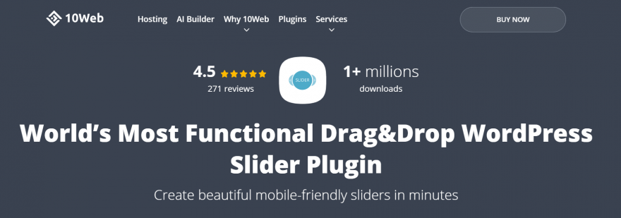 The Slider by 10web home page.