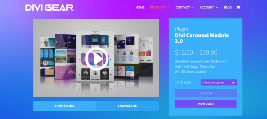 The Divi Carousel Module home page.