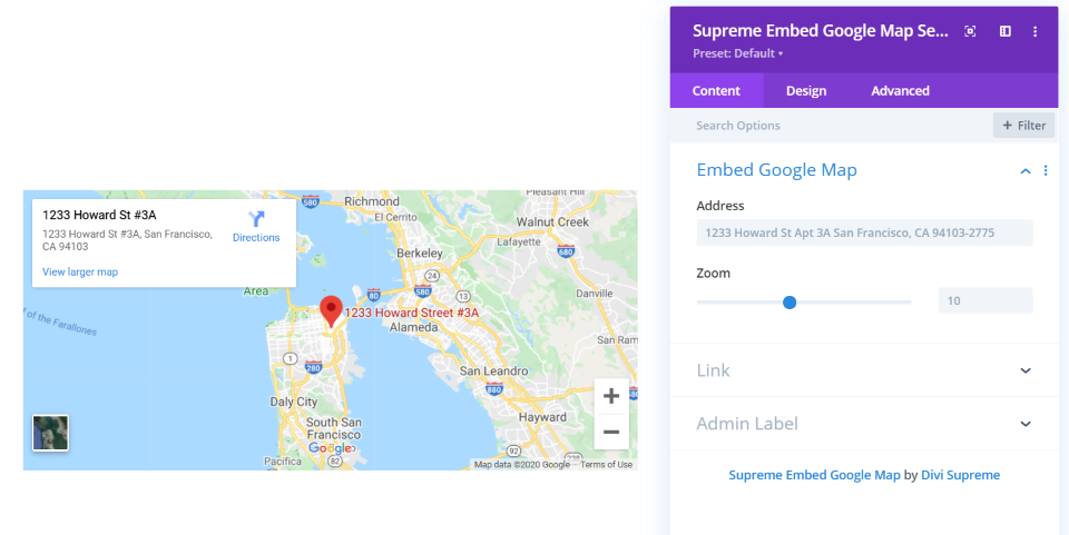 Supreme Embedded Google Map