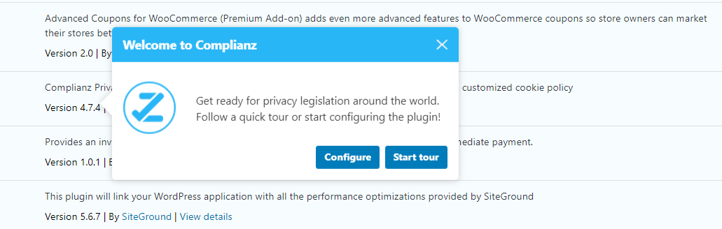 The Complianz configuration wizard.